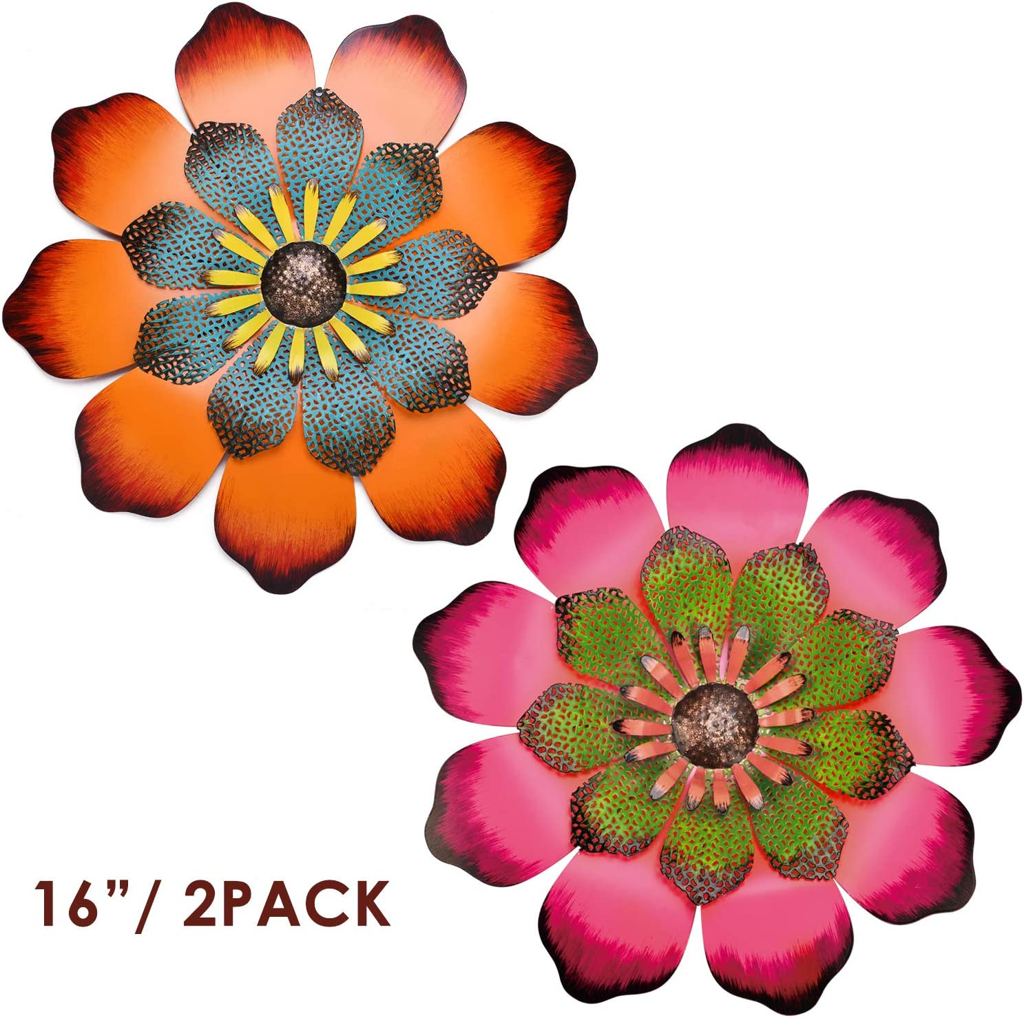 Yeahome 16'' Metal Flower Wall Decor - Wall Art Decorations Hanging for Bedroom, Living Room, Bathroom- Office/Home Decor Boho Art, Handmade Gift for Indoor or Outdoor, Set of 2(Tangerine & Hot Pink) Mothers day gifts