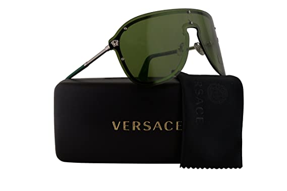 ff17a91970 Versace VE2180 Sunglasses Silver w Green Lens 10002 VE 2180  Amazon.co.uk   Clothing