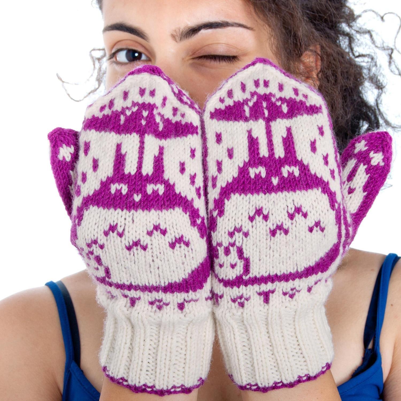 Hand-knit Totoro Mittens (Luxury 100% Merino yarn)