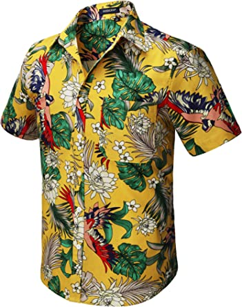 HISDERN Hombre Camisas Hawaianas Funky de Manga Corta Bolsillo Delantero Vacaciones de Verano Aloha Impreso Playa Camisa Informal de Hawaii S-2XL: Amazon.es: Ropa y accesorios