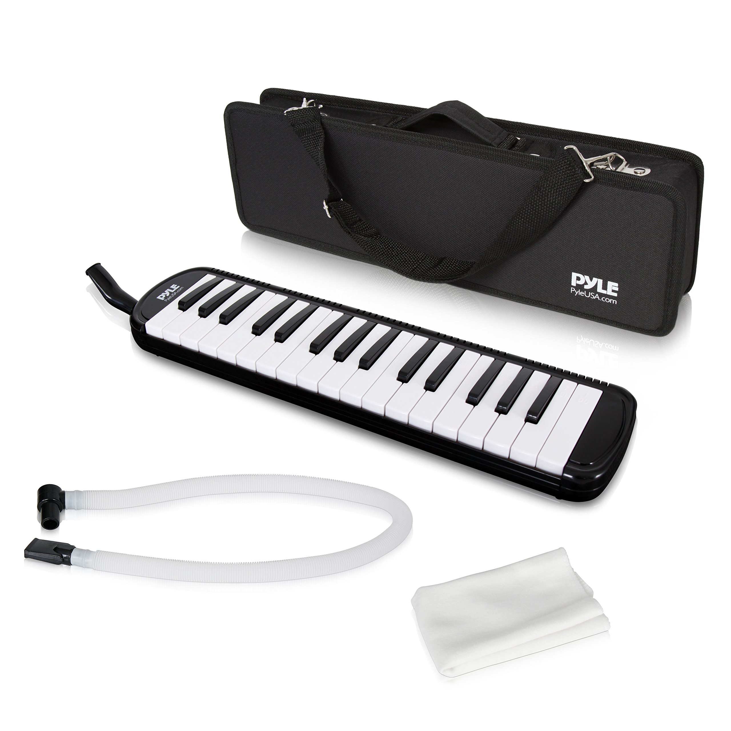 Pyle Black Professional Keyboard Harmonica Instrument - Also Called Mouth Organ, Wind Piano - Tremolo Key Melodica Kit Set Includes Mouthpiece, Tube Accessories - Great for Beginner or Band - PMLD12BK