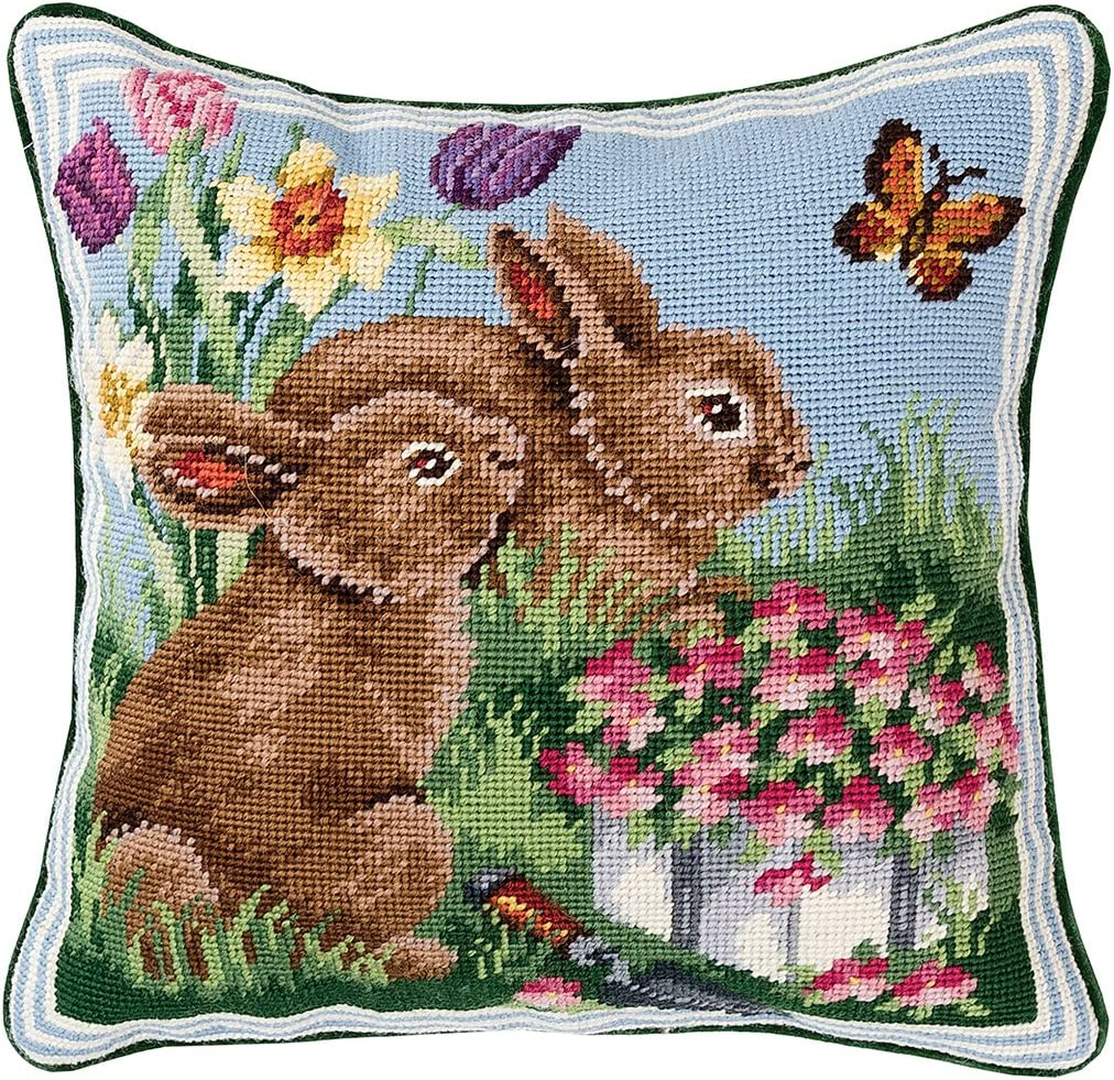 C F Home Bunnies in The Field 2 Needlepoint Pillow 14 x 14 Blue