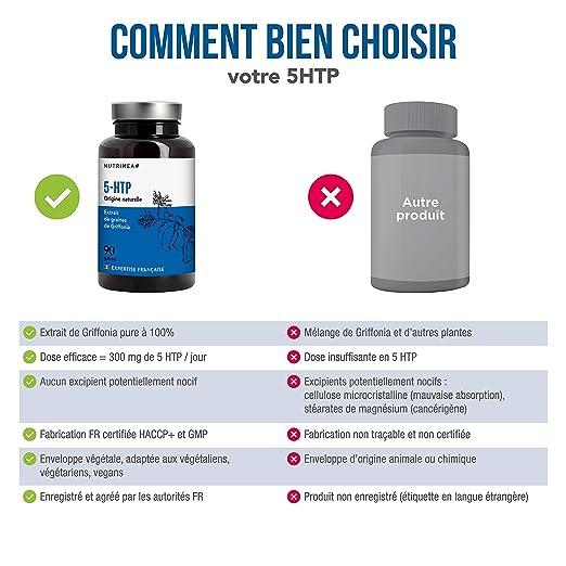 5HTP, extracto de semilla de griffonia 100% natural, 300 mg / día de 5HTP, 90 cápsulas vegetales, mejora el sueño, disminuye el estrés y la ansiedad, ...
