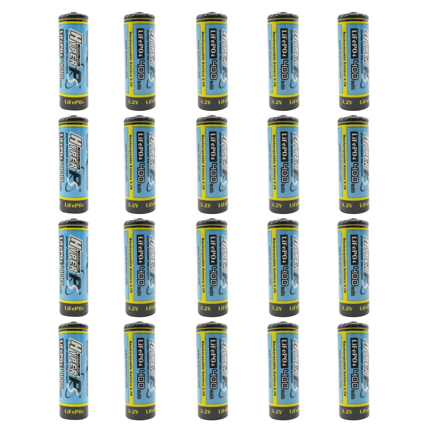 (20-Pack) HyperPS 3.2V LiFePo4 14430 4/5 AA (14 x 43mm) 400mAh Rechargeable Battery for Solar Panel Light, Tooth Brush, Shaver, Flashlight