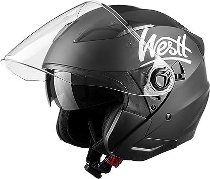 Casco jet moto nero opaco doppia visiera scooter motorino chopper ·westt jet W-001