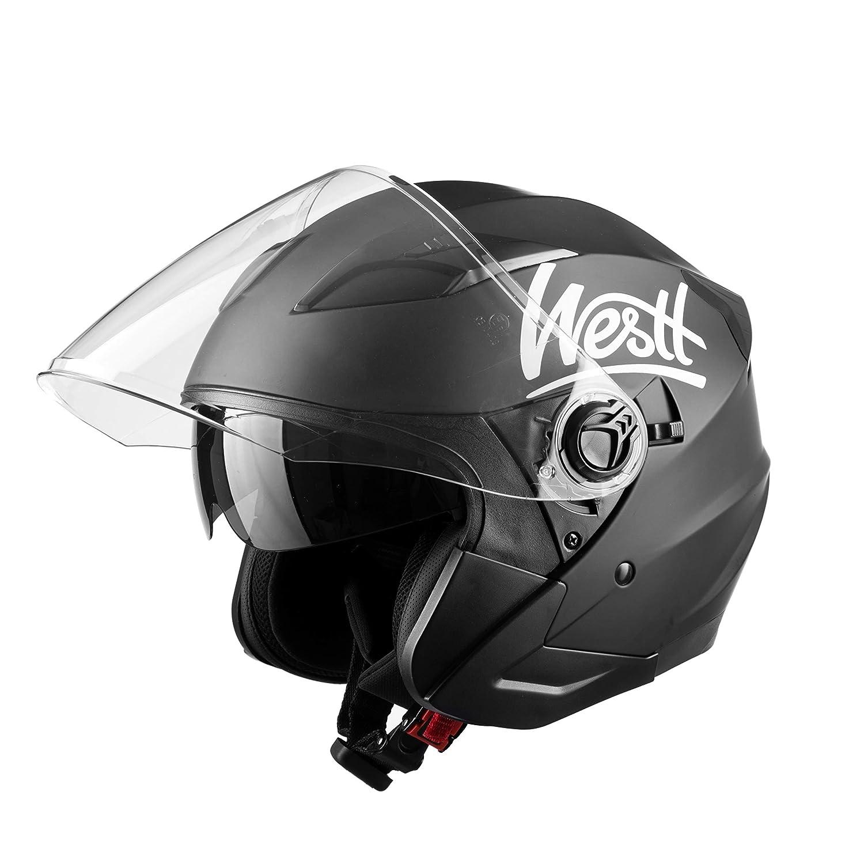 Westt Jet /· Casco Jet Moto Nero Opaco Doppia Visiera Scooter Motorino Chopper /· Casco Moto Donna e Uomo Demi Jet /· Omologato ECE