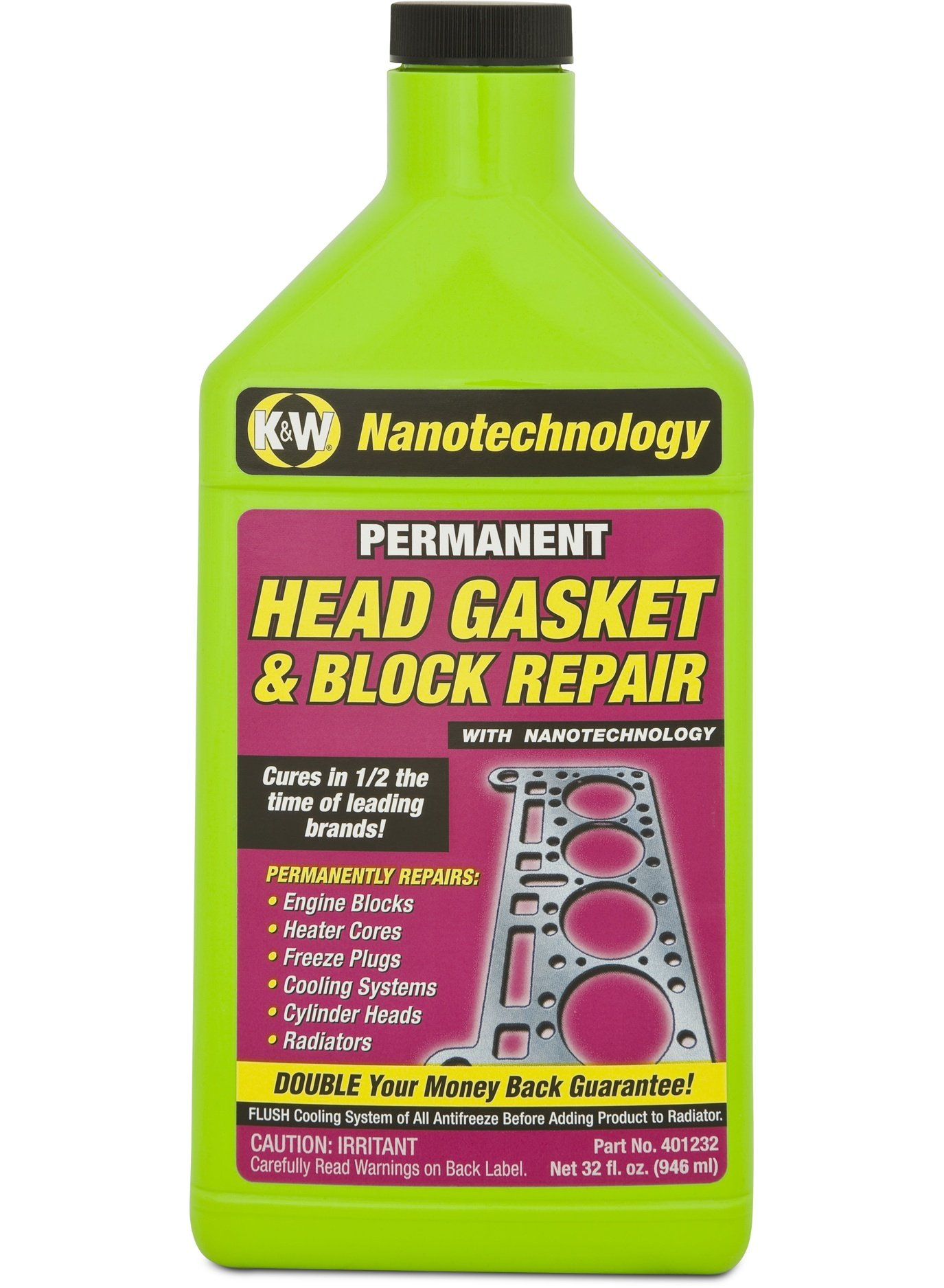 K&W 401232 Permanent Head Gasket & Block Repair with Nanotechnology - 32 Fl Oz