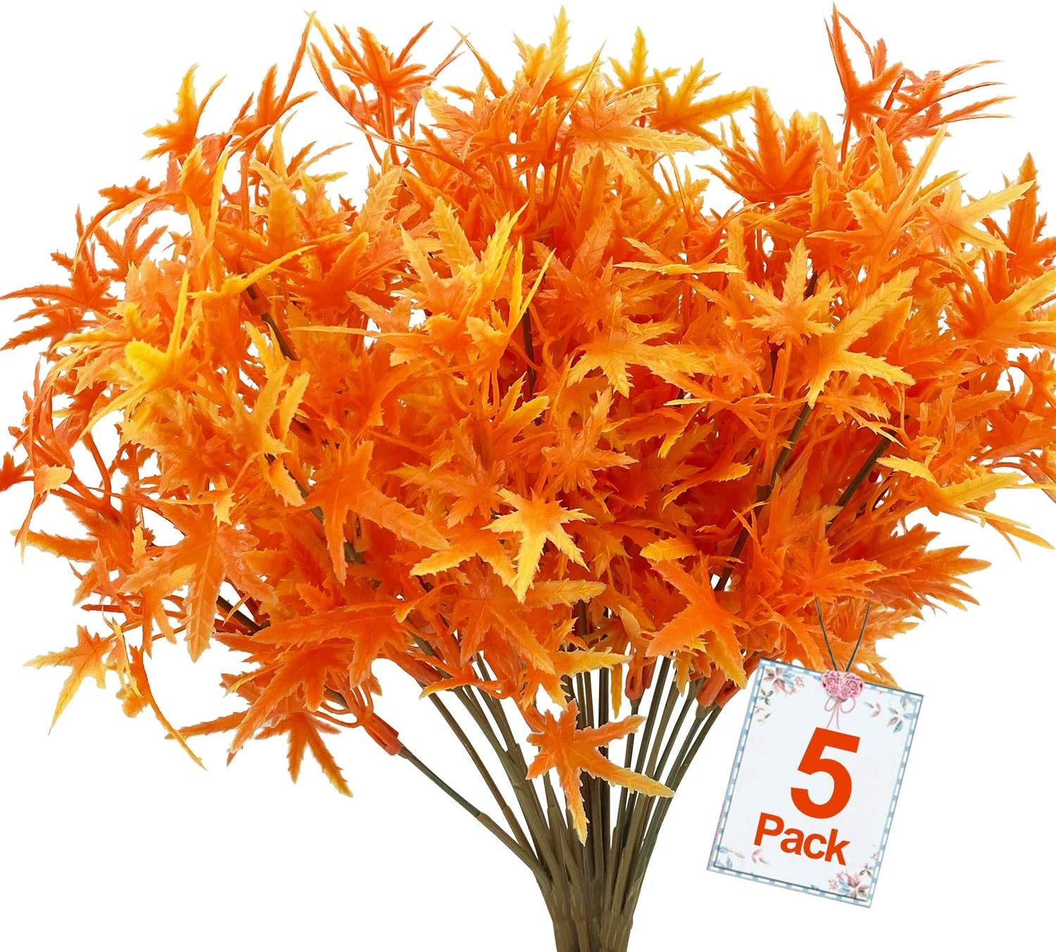 5PCS Artificial Fall Maple Leaves Branches Decoration,Faux Plastic Thanksgiving Autumn Fall Leaves Stem Greenery Shrubs Plants Indoor Outdoor Home Fireplace Office Garden Party Table Decor (Orange)