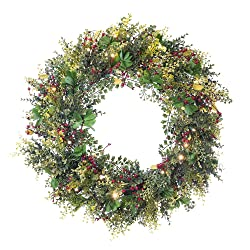 30 in. Artificial Pre Lit LED Decorated Christmas Wreath-Christmas Boxwood and Berry decorations-50 super mini warm clear colored lights with timer battery pack for indoor and outdoor use