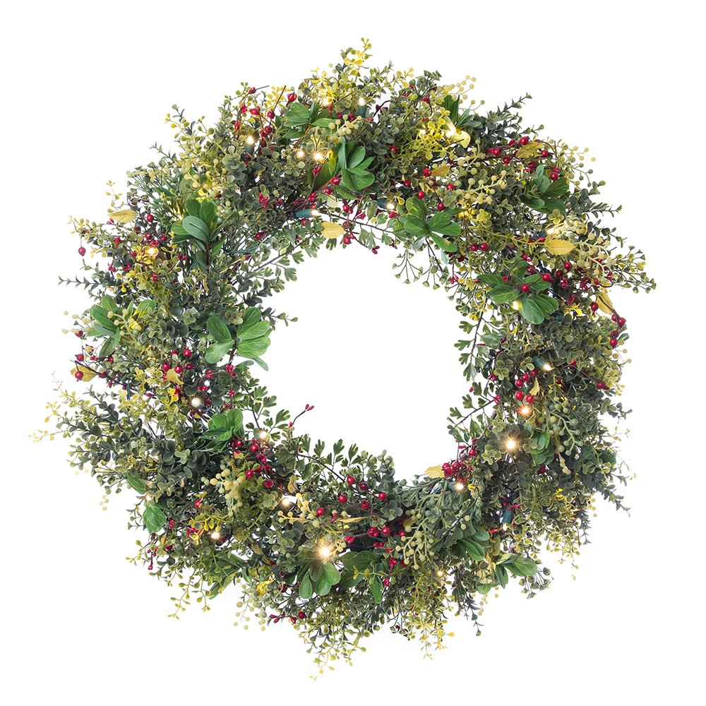 [30 Inch Artificial Christmas Wreath] - Boxwood and Berry Collection - Decoration - Pre Lit with 50 Warm Clear Colored LED Mini Lights - Includes Remote Controlled Battery Pack with Timer