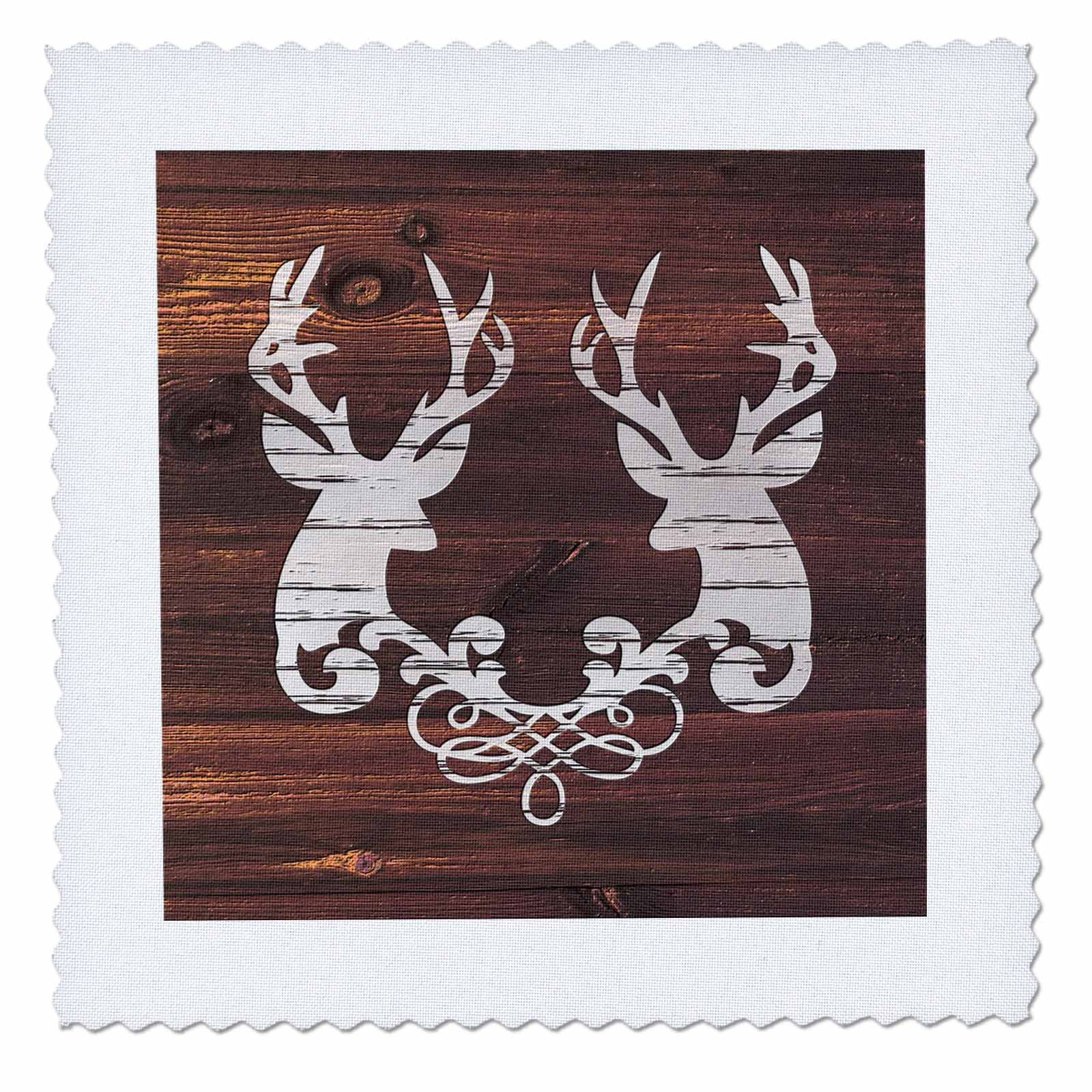 3dRose Russ Billington Designs - Two Stags Heads with Scroll- White on Brown Wood Effect- Not Real Wood - 16x16 inch quilt square (qs_262010_6)