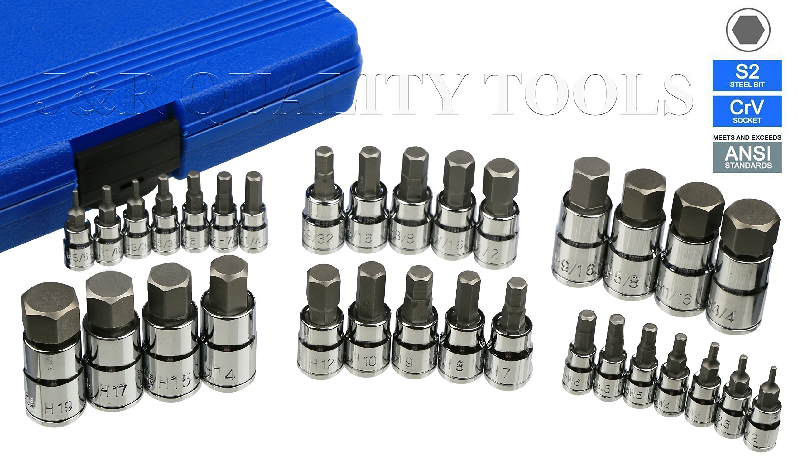 J&R Quality Tools Hex Allen Bit Socket Set, SAE and Metric, S2 Steel  32-Piece Set by J&R QUALITY TOOLS