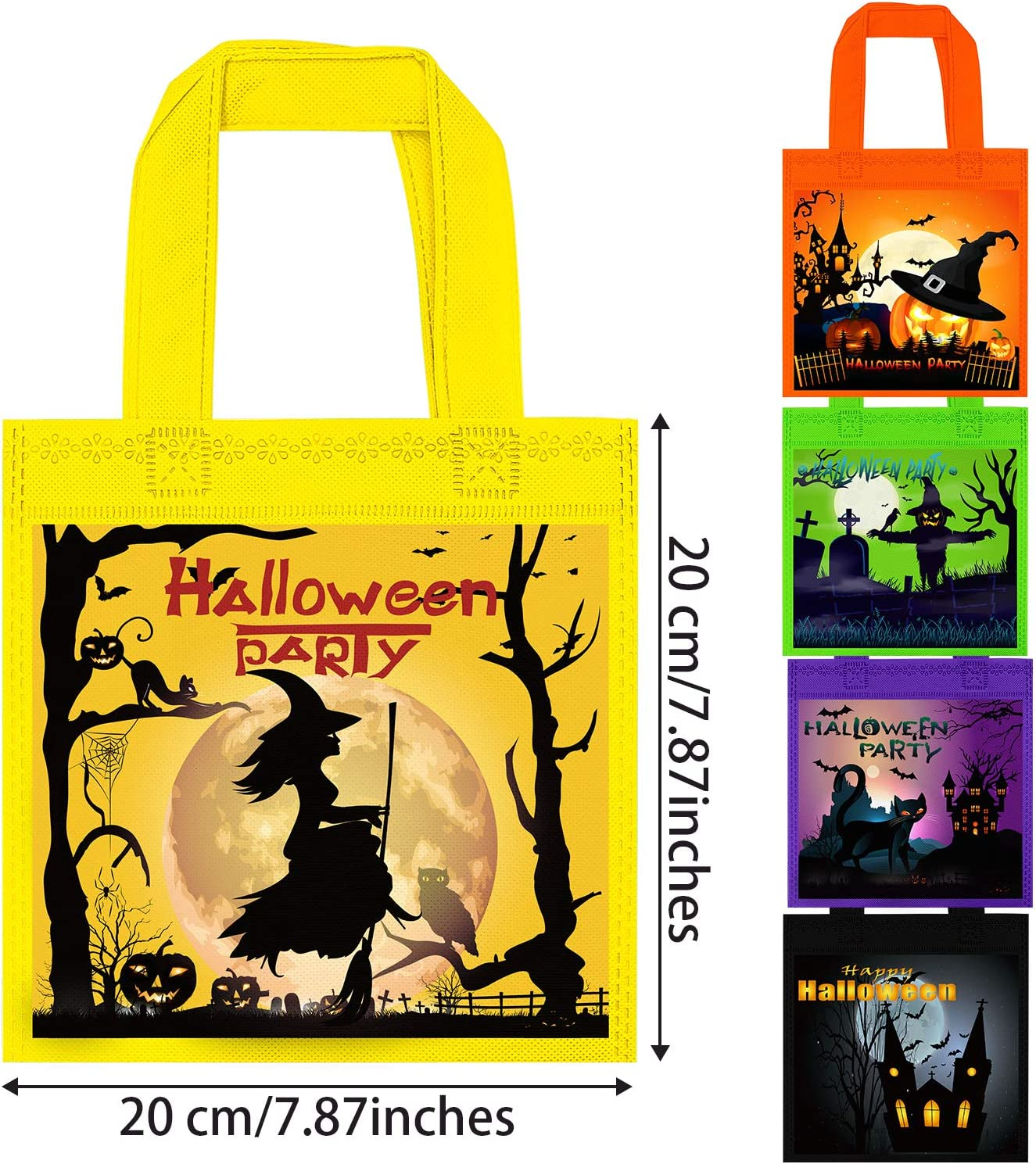 Cooraby 25 Packs 7.87 x 7.87 Inches Halloween Non-woven Bags Halloween Bags with Handles Halloween Goodie Bags for Trick or Treat