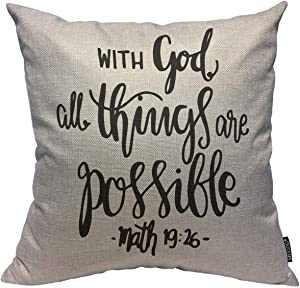 Mugod Bible Verse Throw Pillow Cover with God All Things are Possible Bible Verse Quote Decorative Square Pillow Case for Home Bedroom Living Room Cushion Cover 18x18 Inch