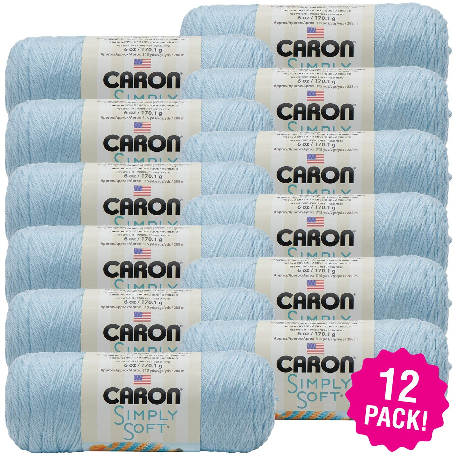Caron 98088 Simply Solids Yarn-Soft Blue, Multipack of 12, Pack