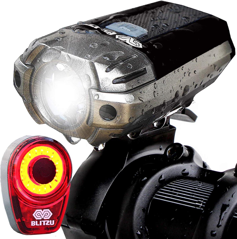 BLITZU Gator 320 USB Rechargeable Bike Light Set Powerful Lumens Bicycle Headlig