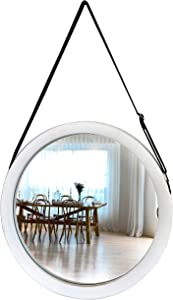 April box–White Decorative Hanging Wall Mirror – 15 Inch Round Wood Mirror for Hanging–Adjustable Leather Strap–Premium Quality Materials–Easy to Install–Ideal Home Décor, Bathroom, Bedroom, Entryway