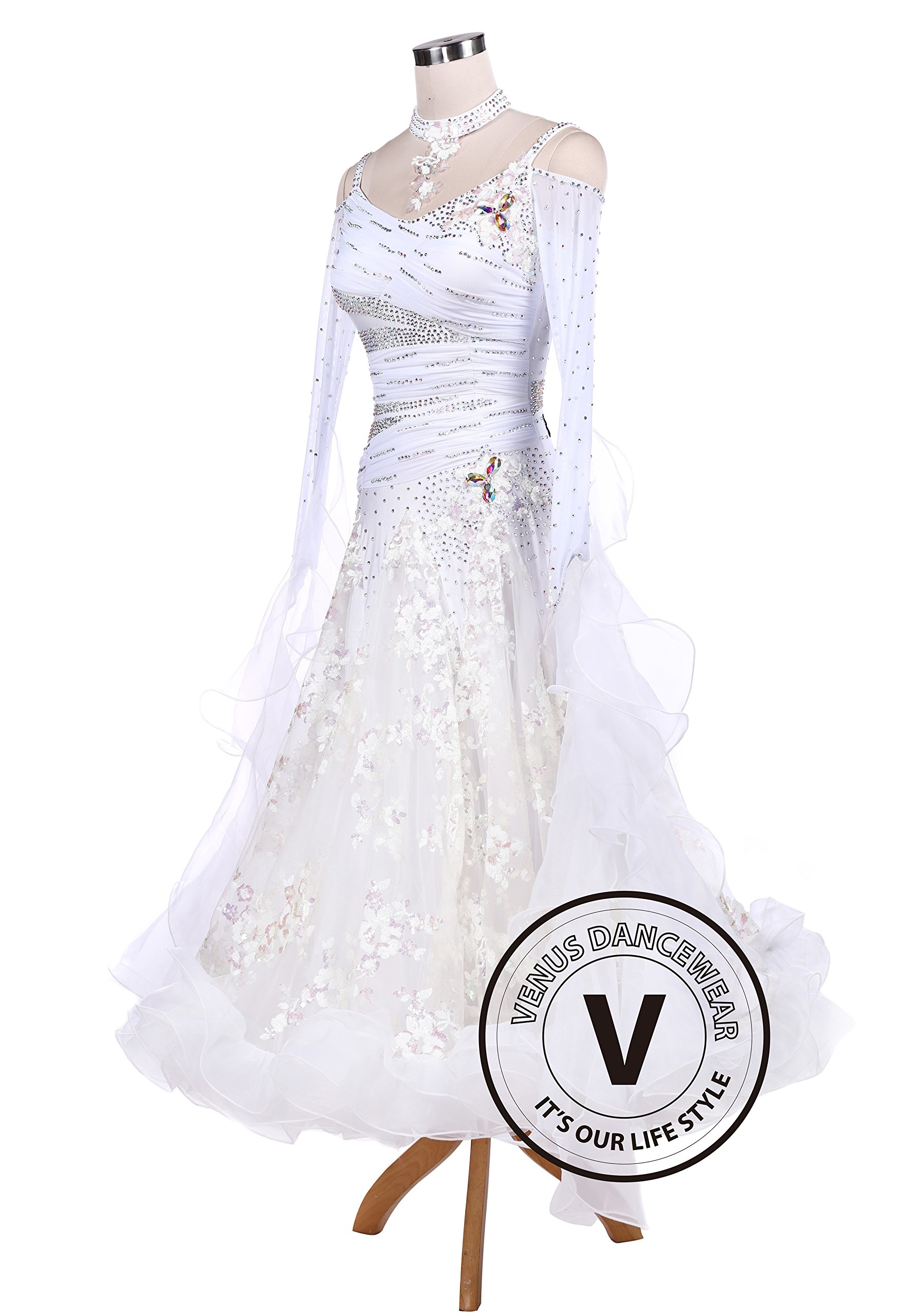 White Sequin Embroidered Ballroom Competition Dance Dress by Venus Dancewear (Image #5)