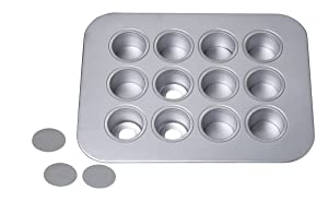 Chicago Metallic12-Cup Mini-Cheesecake Pan, 14-Inch-by-10.75-Inch