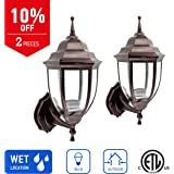 IN HOME 1-Light Outdoor Wall Mount Lantern Upward Fixture L04 Series Traditional Desigh Bronze Finish, Clear Glass Shade (2 Pack), ETL listed