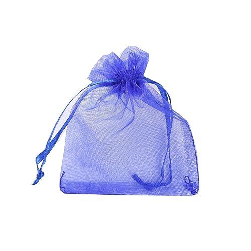 ILOVEDIY 30 piezas azul cinta bolsas de regalo de Organza dibujable Tamaño pequeño 10 x 12 bolsitas de bolsillos