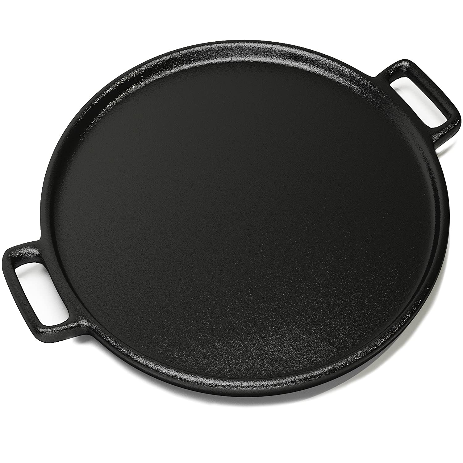 Home-Complete Cast Iron Pizza Pan - 14 Inch - Evenly Bakes and Heats Your Pizza - Works with All Kinds of ovens - Strong Handles and a Small Lip to Avoid Spills and Mess