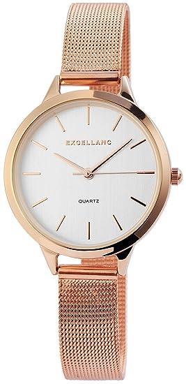 Reloj mujer plata rosado. Oro Mesch banda analógico metal Reloj de pulsera