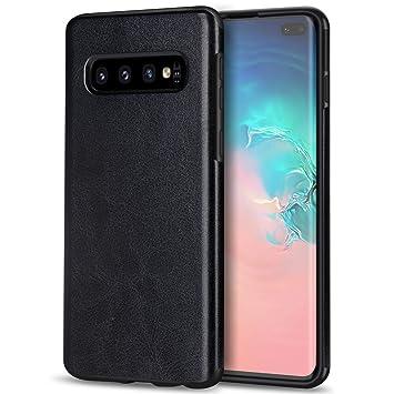 TENDLIN Funda Samsung Galaxy S10 Plus Cuero Silicona TPU Híbrido Suave Carcasa para Samsung Galaxy S10+ (Negro)