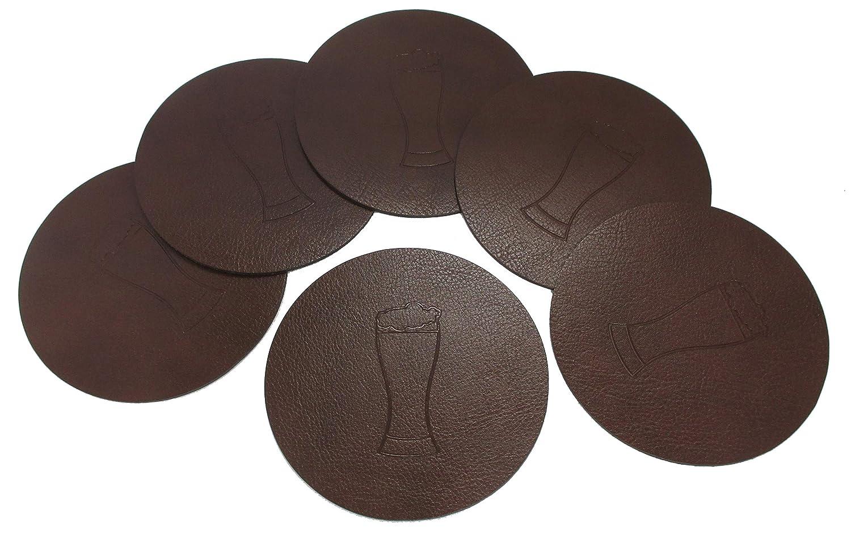 Fabricado en Alemania Bonded Leather Alrededor 95/mm con Cerveza Cristal en Relieve marr/ón Piel Juego de 6/Posavasos de Cristal