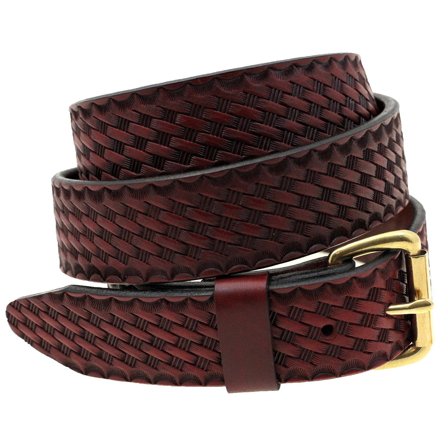 Men 1 1//2 Burgundy Latigo Leather Belt Basket Weave Embossed Nickel-Free