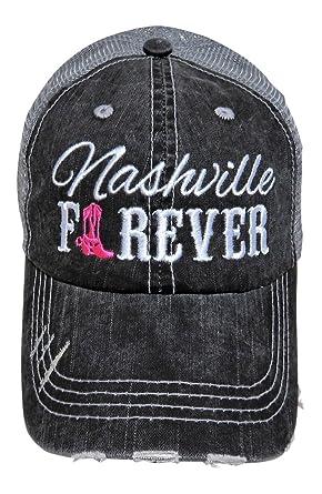 5b465973b2d Embroidered Nashville Forever Grey Vintage Baseball Trucker Cap Hat Western