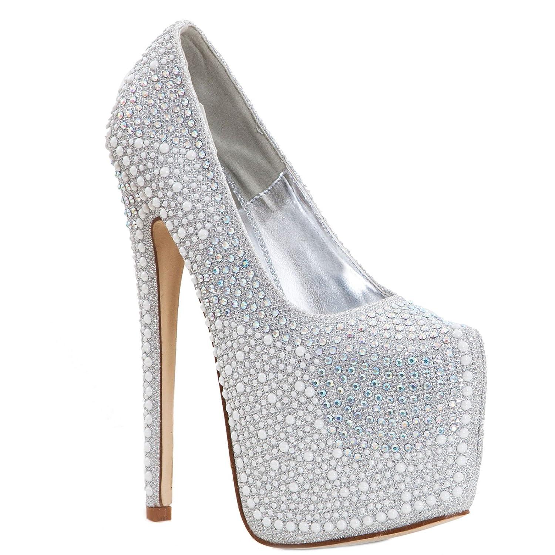 Toocool - Decollet gioiello scarpe donna STRASS gioiello Decollet tacchi alti 18 cm plateau nuove K2D5209-2  Silver caf3c9