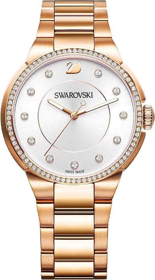 Swarovski Orologio City Da Donna Con Cinturino In Acciaio Finitura In Oro Rosa 5181642 Amazon It Orologi