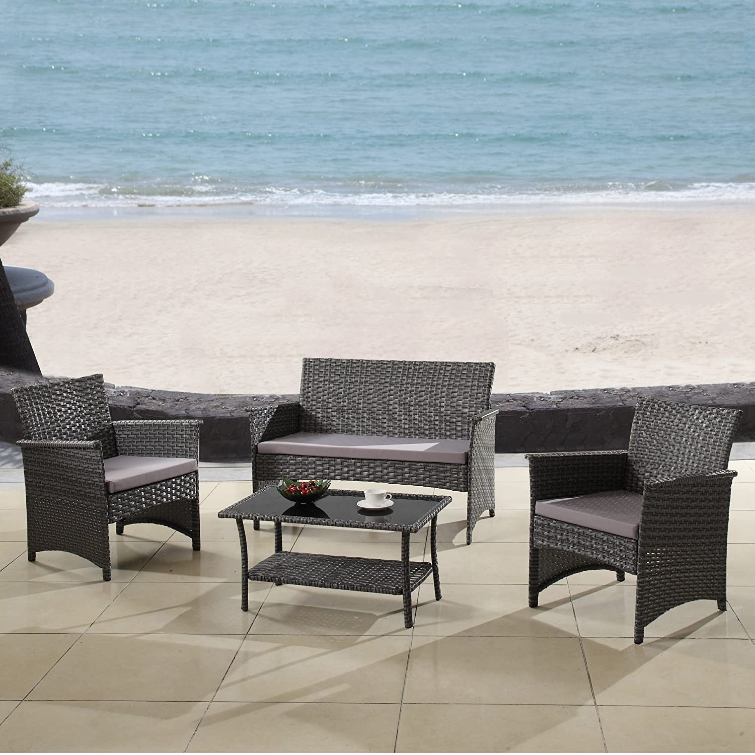 Outdoor patio furniture set cushioned 4 pieces wicker patio set table two chairs and a sofa gray finish with gray cushions outdoor furniture lawn rattan