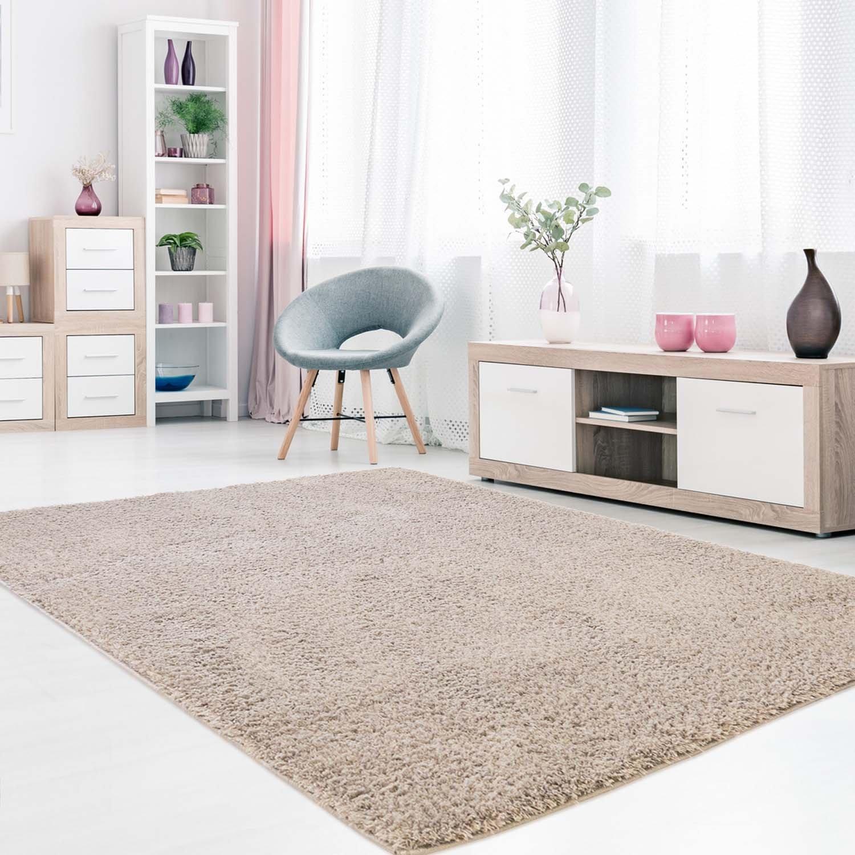 Carpet city Teppich Hochflor Langflor Shaggy aus Micro-Polyester Einfarbig Uni in Beige für Wohn- oder Schlafzimmer, Größe  140 x 200 cm