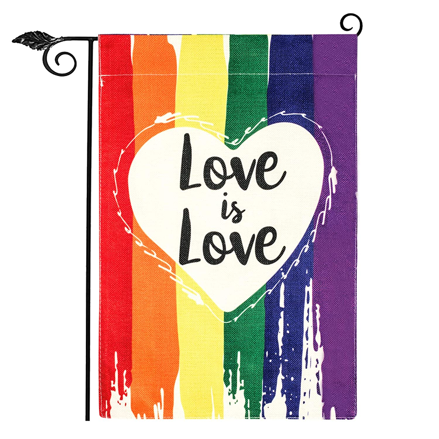 Unves Gay Pride Garden Flag, Rainbow Garden Flag Burlap Double Sided, Love Always Wins Flag, Respect LGBT Pride Flag Colorful for Yard House Lawn Farmhouse Holiday Outdoor Decor 12.5 x 18 Inch