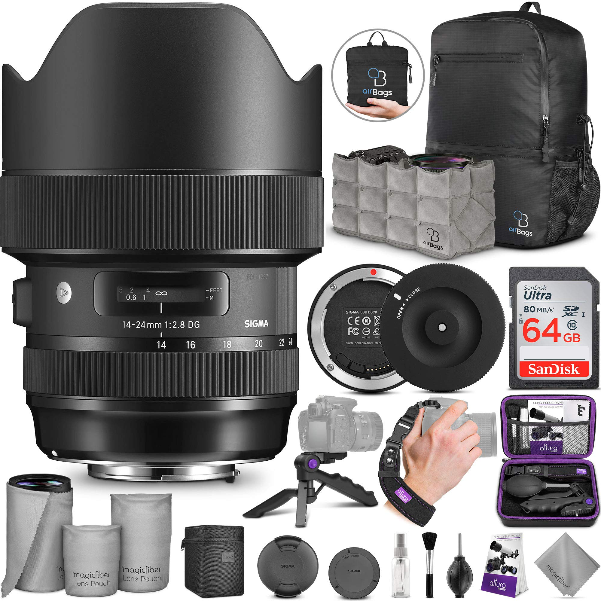 Sigma 14-24mm f/2.8 DG HSM Art Lens for Canon EF + Sigma USB Dock with Altura Photo Advanced Accessory and Travel Bundle by Sigma