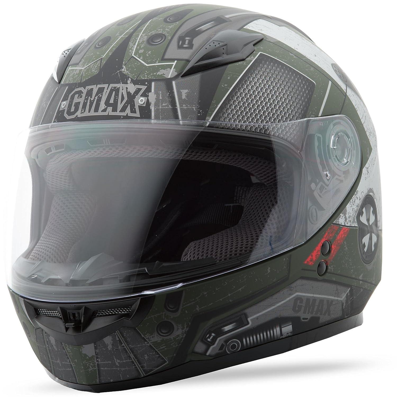 GMAX Unisex-Adult Style G7495711 TC-3F Gm49Y Trooper Full Face Helmet Flat Green//Black//Red youth m Medium