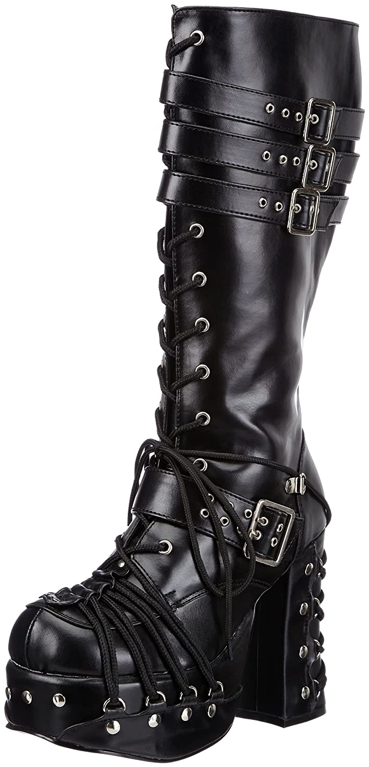 Pleaser Demonia by Women's Charade-206 Lace-Up Boot B00EWC118W 6 US/Medium M US|Black Polyurethane