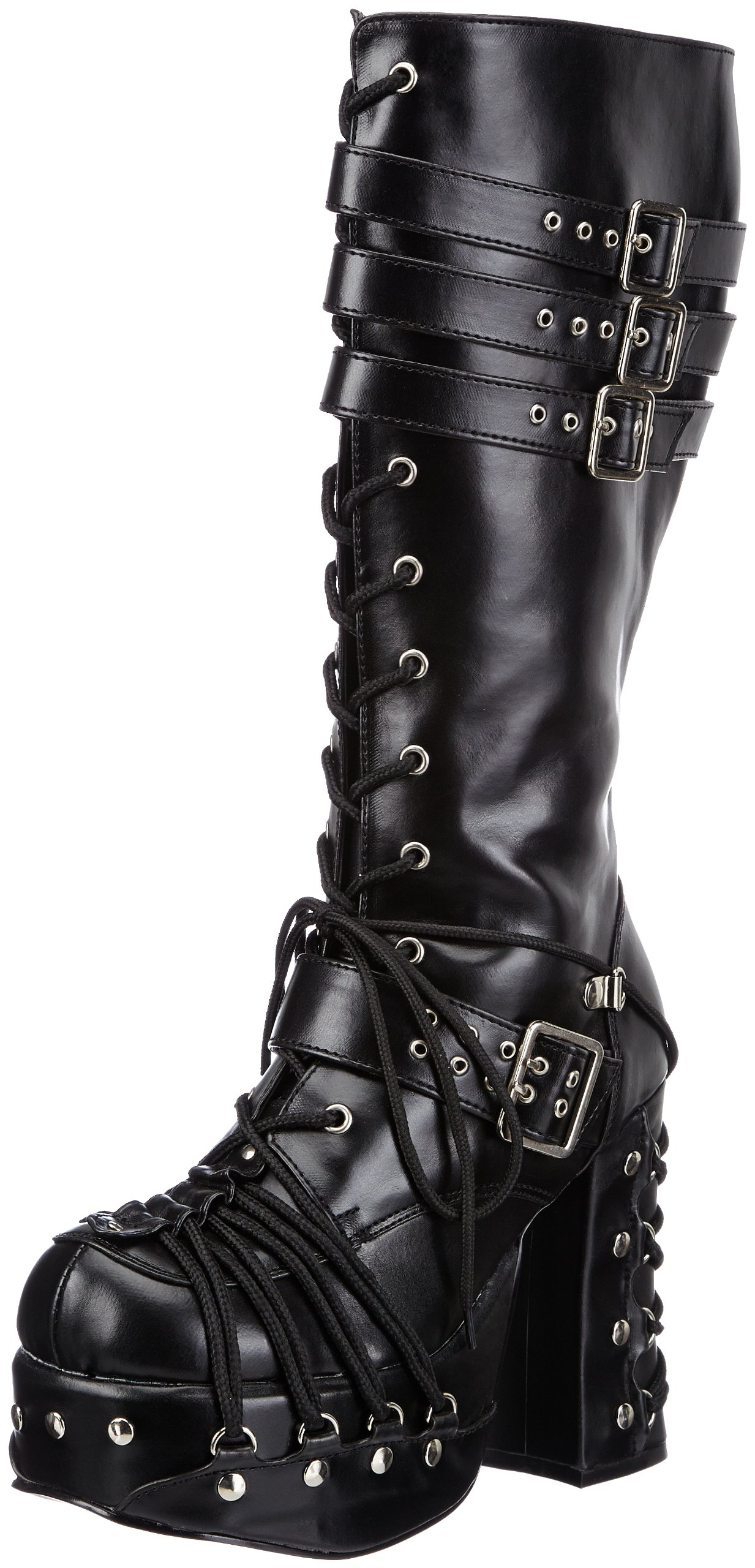 Pleaser Demonia by Women's Charade-206 Lace-Up Boot,Black Polyurethane,8 M US