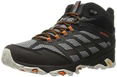 Merrell Men's Moab FST Mid Waterproof Hiking Shoe, Black, ...