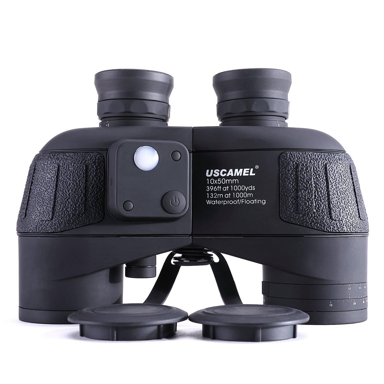 USCAMEL 10 x 50 HD双眼鏡軍事with Ranging、コンパス多機能、最適な用途Bird Watching、ハンティング、ヨット、ブラック B07584YQGM