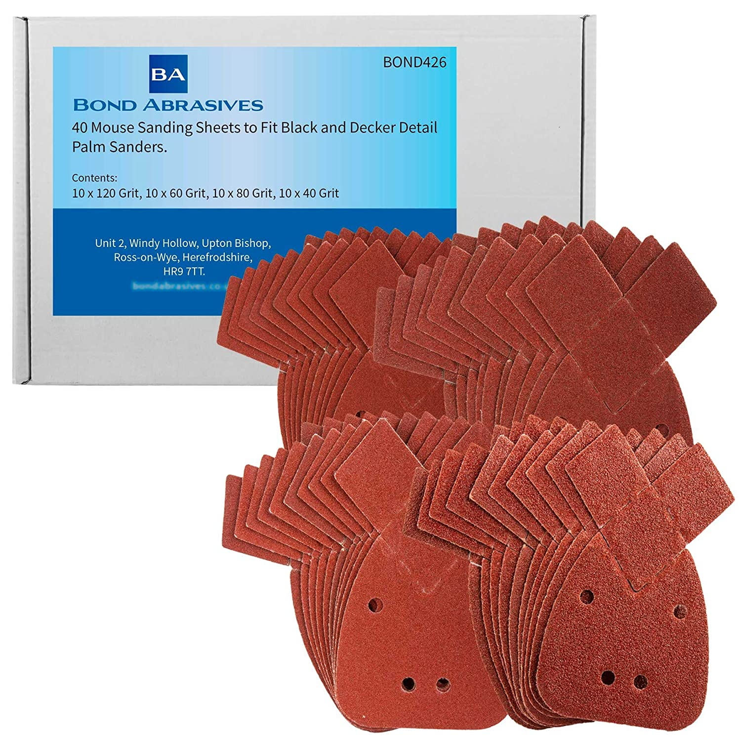 40 Bond Abrasives Mouse Sanding Sheets to Fit Black and Decker Detail Palm Sander All Grades