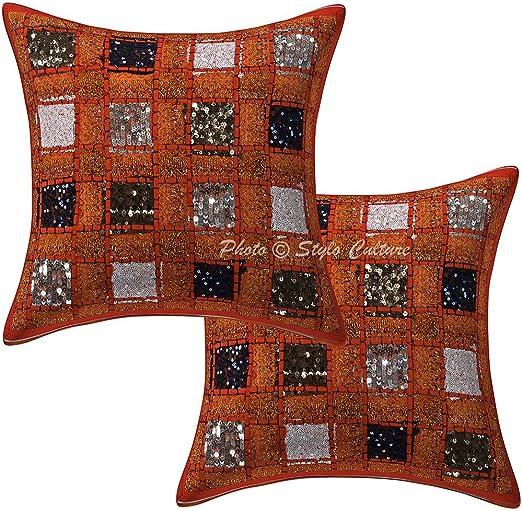 Stylo de algodón de Color Naranja 16x16 Lentejuelas
