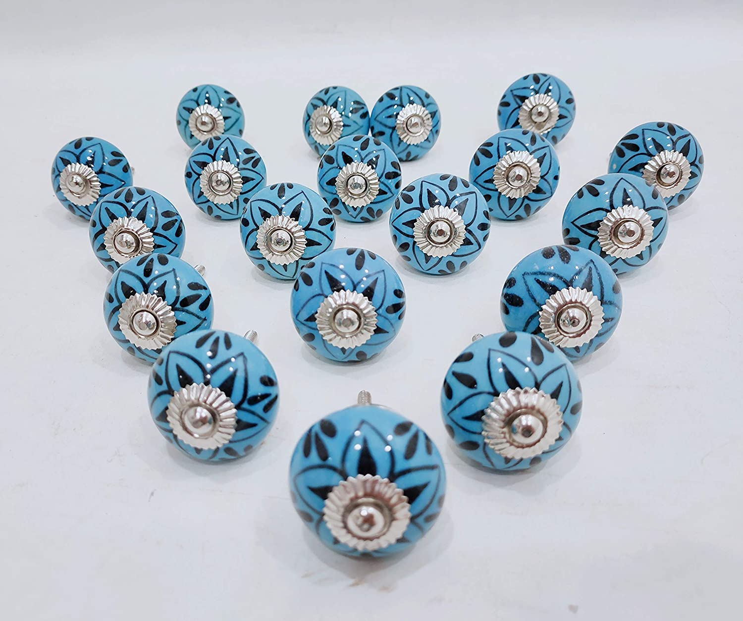 Drawer Knobs Set of 20 Ceramic Knobs Handpainted Turquoise Color Cabinet and Furniture Knobs Door Knobs with Proper Hardware Fitting