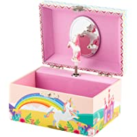 Kids Unicorn Jewellery Box: Includes Unicorn Bracelets for Mom & Daughter, 3 - 9 Year Old Girl Gifts, Wood Musical Jewelry Box with Fantasy Unicorn Art Wrap - LW KIDS Creations
