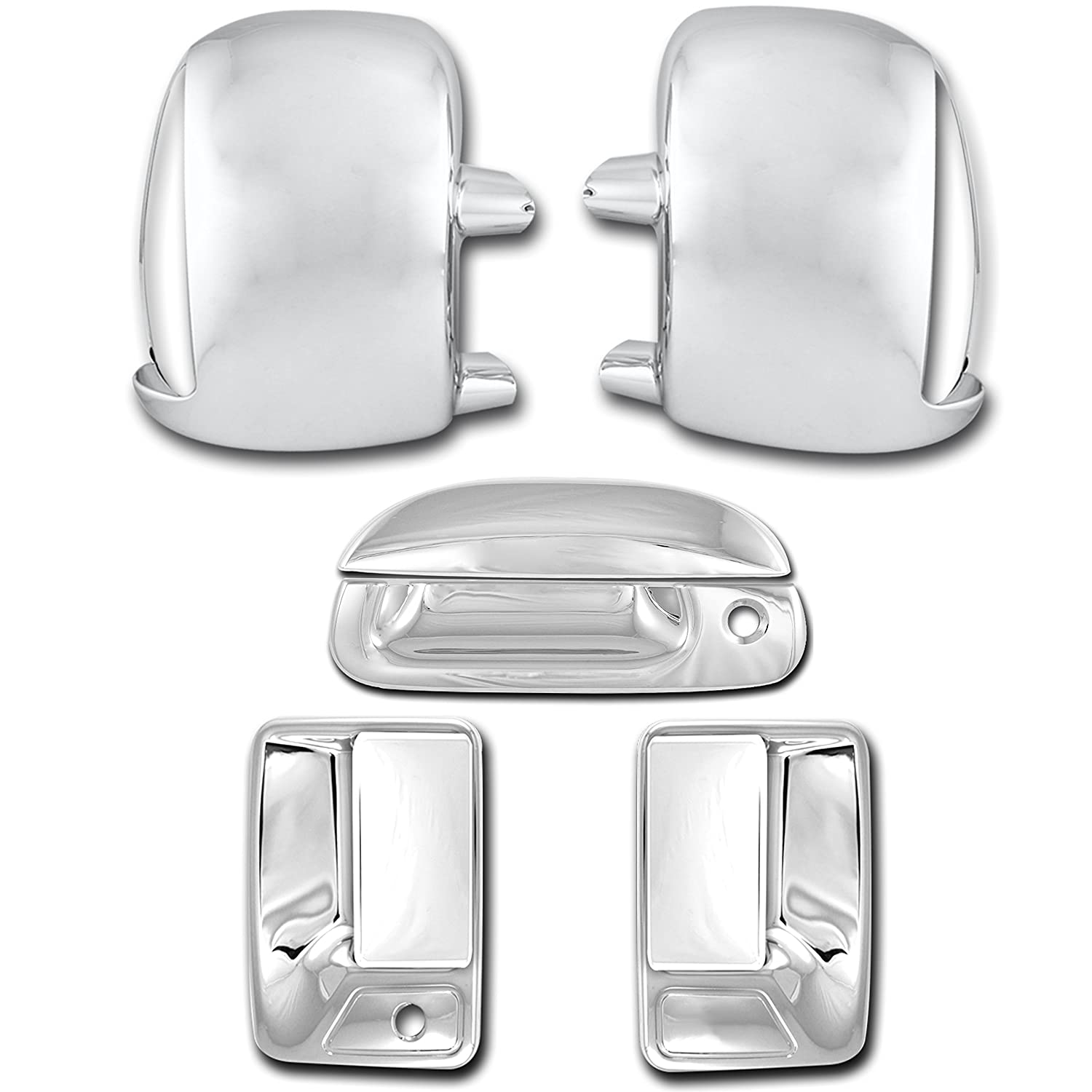 99-07 Ford Super Duty Chrome Mirror+4 Door Handle w//o Passenger Keyhole Cover