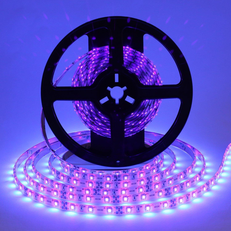 Cosumina Waterproof IP65 UV/Ultraviolet Black light LED strip Lights,16.4Ft/5M Length 300 Units 3528 LEDs, Water-resistance LED Tape Light, Wavelength 395-405nm For DJ Bar Club Party Decoration