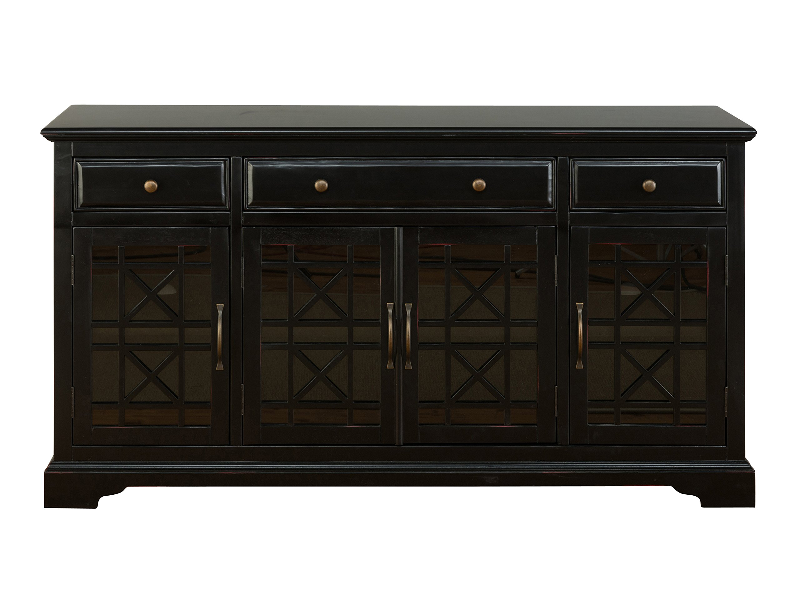 Jofran 275-60, Craftsman, 60'' Media Unit, 60'' W X 19'' D X 32'' H, Antique Black Finish, (Set of 1)