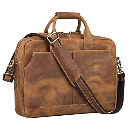 b2d981afa0f S-ZONE Men's Vintage Genuine Leather 17 inch Laptop Briefcase Bag (Brown):  Amazon.co.uk: Luggage